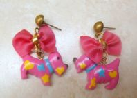 Vintage Pink Scottie Dog And Bow Drop Earrings.